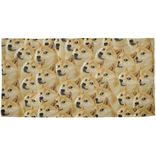 Doge Meme Funny All Over Beach Towel Multi Standard One Size by Animal World