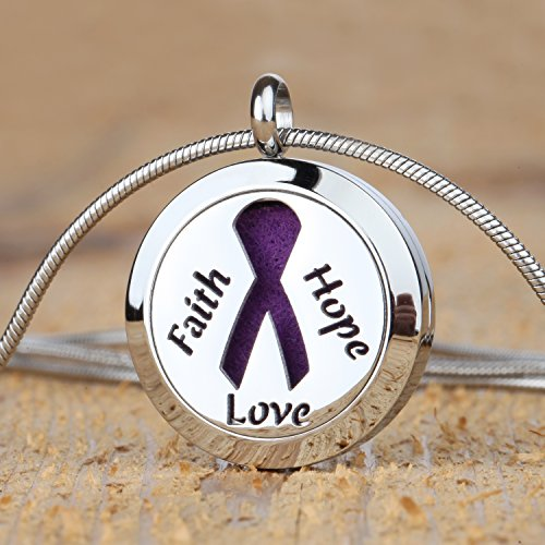 Faith Hope Love Aromatherapy Essential Oil Diffuser Necklace Locket Pendant Jewelry Gift Set with 20