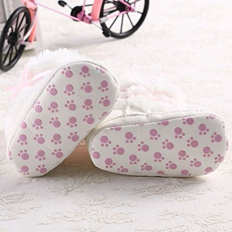 Pictures of Baby Infant Bowknot Boots Soft Crib Shoes White 3