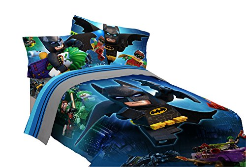 (5 Piece Full Size Lego Batman Bedding Set Includes 4pc Full Sheet Set And T/Full Comforter)
