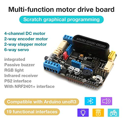 VOVI Motor Driver Module H-Bridge Drive Shield Board Microcontroller  High-Power DC Motor Controller Bluetooth Interface Build in PWM Speed  Controller
