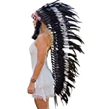 Novum Crafts Feather Headdress | Native American Indian Inspired | Black/white