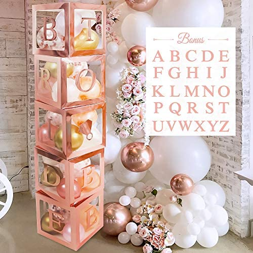 Bridal Shower Decorations Balloon Boxes Rose Gold- 96pcs Transparent Block with BRIDE TO BE + GROOM + A-Z Letters and 40 Balloons- For Engagement, Bachelorette Party, Weddings, Birthday, DIY Name Boxes, Baby Shower
