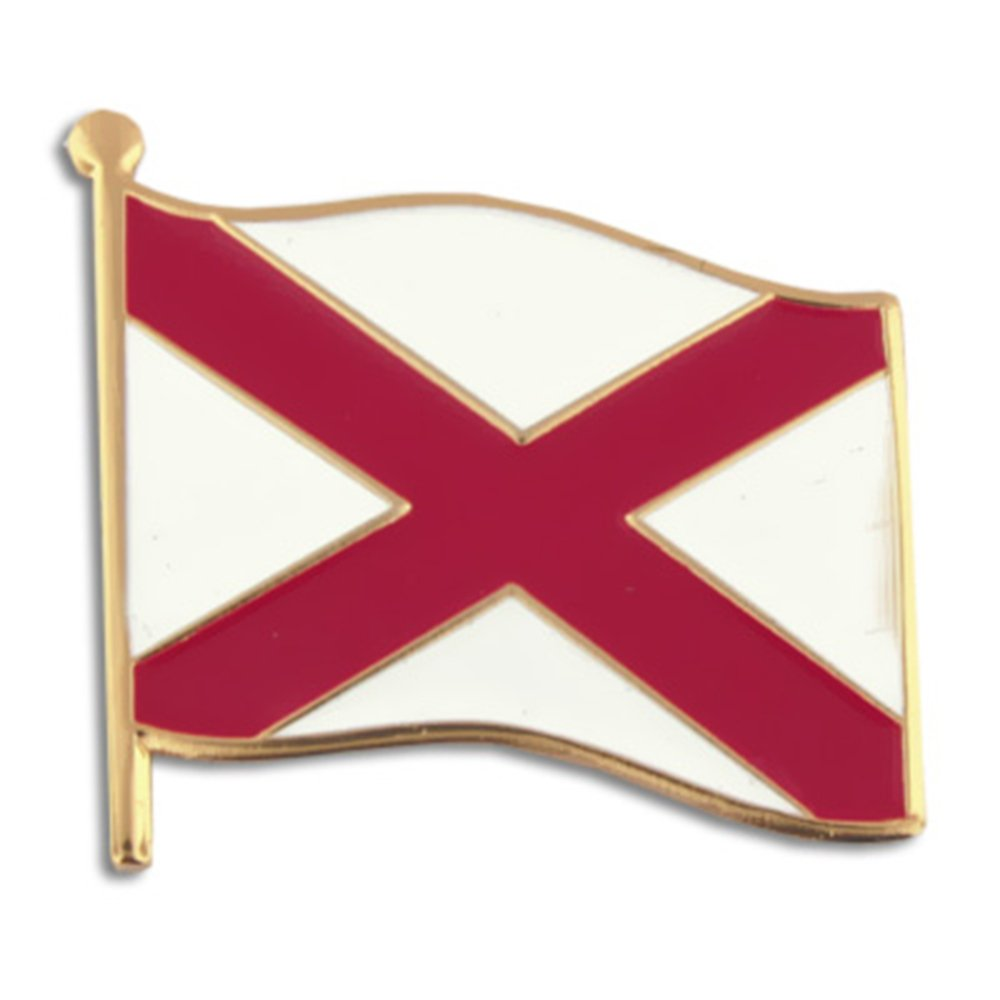 PinMart's Alabama US State Flag AL Enamel Lapel Pin 1''