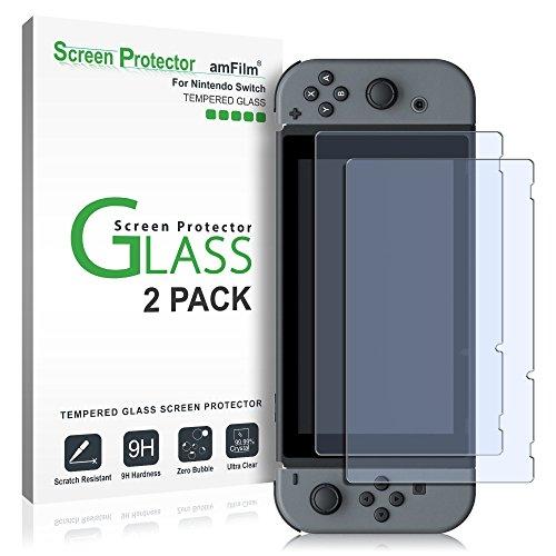Protector de pantalla de cristal templado amFilm para Nintendo Switch 2017 (paquete de 2)