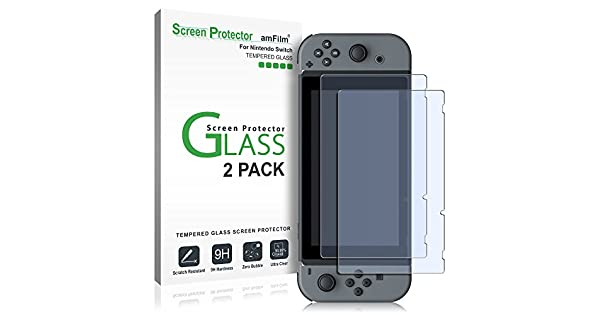 Amazon AmFilm Tempered Glass Screen Protector For Nintendo Switch 2017 2 Pack Video Games