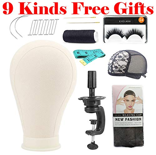 - 24 Inch Canvas Head Canvas Mannequin Dome Head with 9 Free Gifts Holder,Eyelash,Weaving Needle、Line,Sewing Needle,T Pins,Soft Ruler,Wig Cap,Mesh Cap For Wig Making display With Mount Hole
