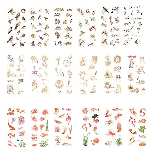 Nature Bird Kawaii Cat Floral Fish Goldfish Self-Adhesive Washi Paper Stationery Sticker Set Decorative Label for Scrapbooking Diary Album Notebook Journal Agenda (G)
