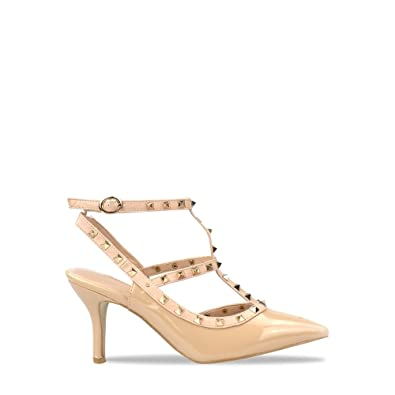 4833669edba FOOTCANDY LADIES-LOW-KITTEN-STUDDED-ANKLE-STRAP-LOW-MID-HEEL-PUMPS-COURT- SHOES-SIZE-3-8 (UK 4