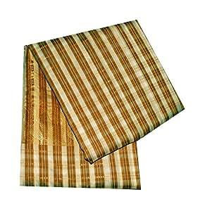 Vintage Saree Dress Up Juegos algodón Chanderi DIY rayas de material utilizado cortina impresa Drape marrón decoración del hogar