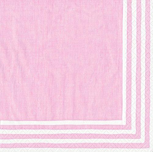 Entertaining with Caspari Dinner Napkin, Stripe Border Pink, 20-Pack Pink Stripe Border