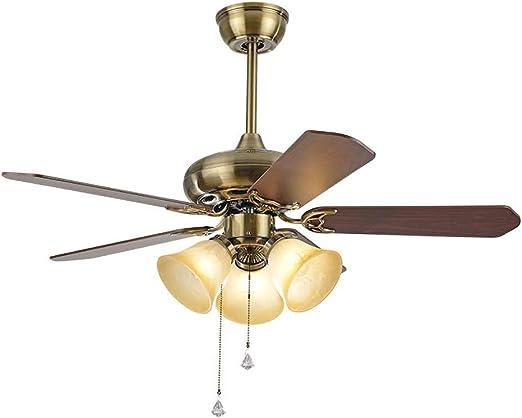 ADFD Ventilador de techo con luz,5 aspas de madera, silencioso, 3 ...