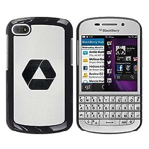 YOYOYO Smartphone Protección Defender Duro Negro Funda Imagen Diseño Carcasa Tapa Case Skin Cover Para BlackBerry Q10 - recicle el logotipo negro