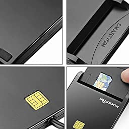 Rocketek RT-SCR1 DOD Military USB Common Access CAC Smart Card Reader, Compatible with Windows (32/64bit) XP/Vista/7/8/10, Mac OS X/RT-SCR1