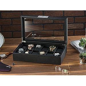 Glenor Co Watch Box for Men – 12 Slot Luxury Carbon Fiber Design Display Case, Large Holder, Metal Buckle – Black