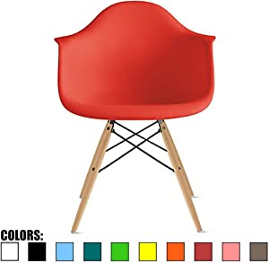 2xhome Red Mid Century Modern Plastic Dining Chair Molded with Arms Armchairs Natural Wood Legs Desk No Wheels Accent Chair Vintage Designer for Small Space Furniture Living Room Desk DSW