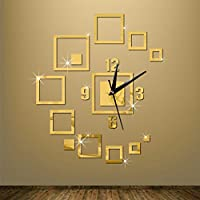 Fymural DIY Wall Clock Wall Stickers- Modern Acrylic Mirror Surface 3D Simple Big Size Wall Decor Clocks Numbers Stickers for Living Room Bedroom TV Wall Decoration Removable
