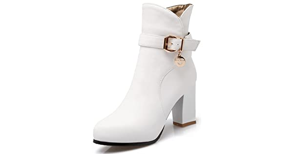 6184edf34 Summerwhisper Women's Stylish Buckle Strap Pointed Toe Side Zipper Bridal  Booties Chunky High Heel Ankle Boots Shoes White 4 B(M) US