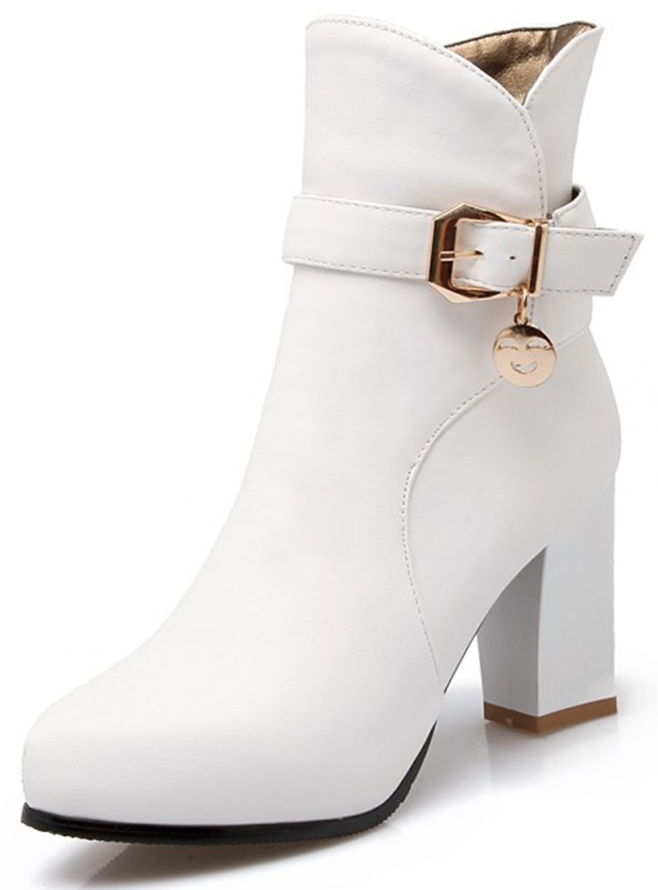 Summerwhisper Women's Stylish Buckle Strap Pointed Toe Side Zipper Bridal Booties Chunky High Heel Ankle Boots Shoes White 5 B(M) US