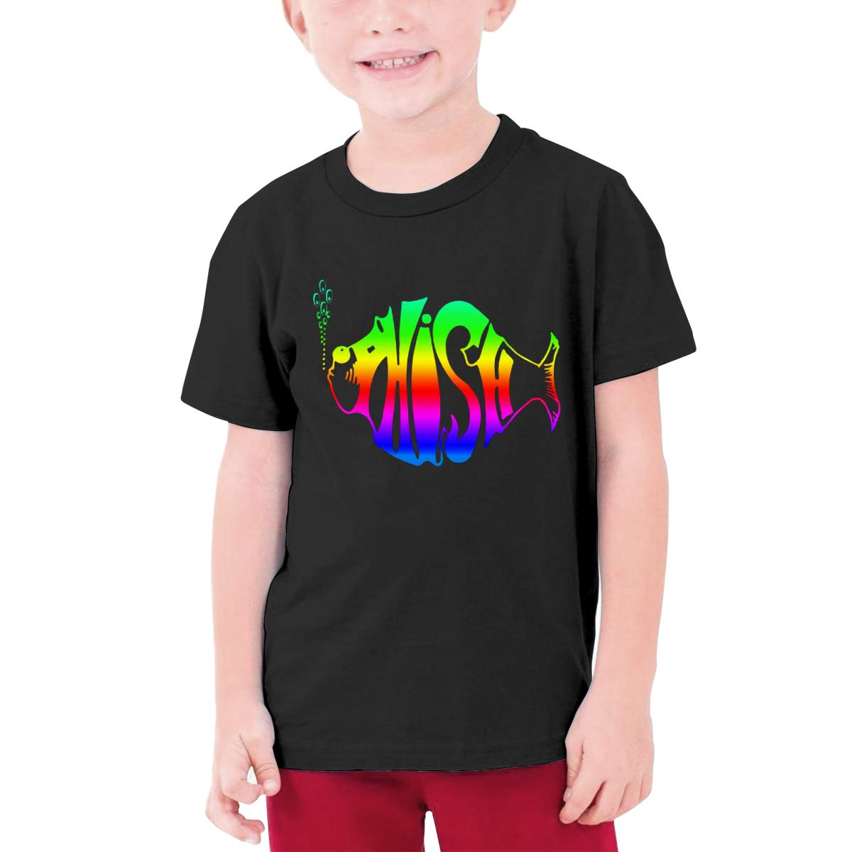 Kids Soft Cotton T Shirt Rainbow Phish Stylish Crewneck Short Sleeve Tops Black