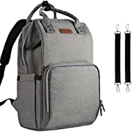 Diaper Bag Backpack Nappy Bag Upsimples Baby Bags for Mom Unisex Maternity Diaper Bag with USB Charging Port Stroller Straps Thermal Pockets|Wide Shoulder Straps|Water Resistant |Gray