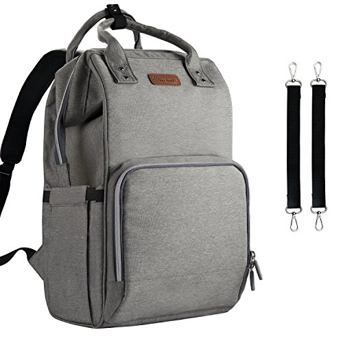 Diaper Bag Backpack Nappy Bag Upsimples Baby Bags for Mom Unisex Diaper Bag with USB Charging Port Stroller Straps Thermal Pockets|Wide Shoulder Straps|Water Resistant |Gray