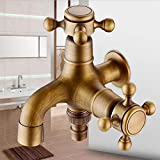 Double Built-in washbasin tap in Antiqued Brass, Garden and Bathroom tap with Cross Handle