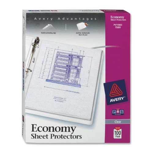 Avery Economy Clear Sheet Protectors Acid Free Box of 100 (75091)
