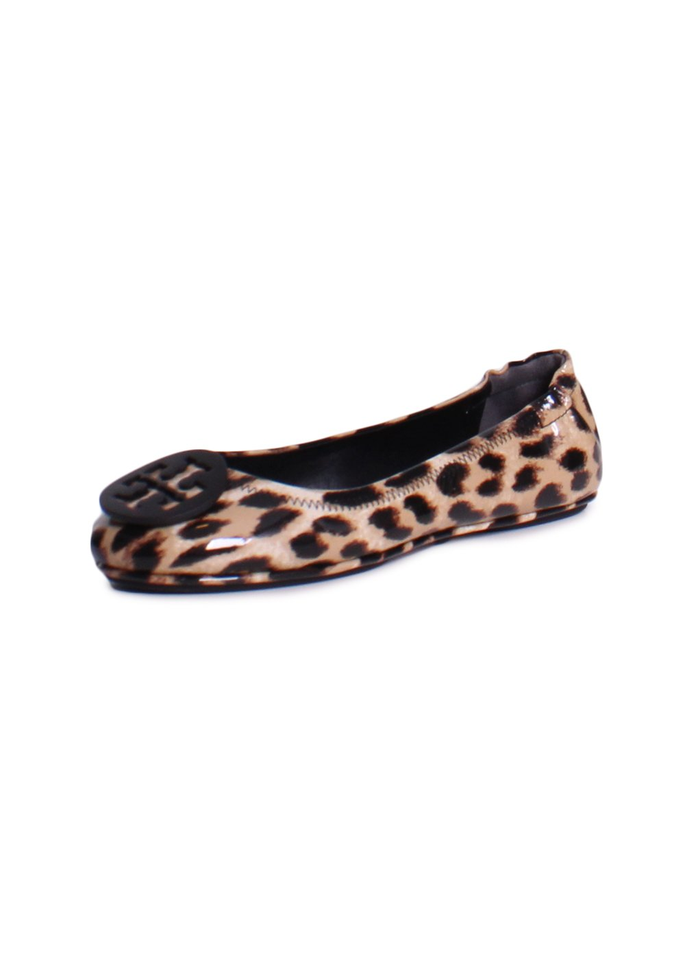 Tory Burch Minnie Travel Patent Leather Ballet Flats In Natural Leopard Size 10.5 by Tory Burch