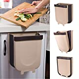 Yibaision Hanging Trash Can for Kitchen Cabinet Door, Collapsible Trash Bin Small Compact Garbage Can Attached to Cabinet Door Kitchen Drawer Bedroom Dorm Room Car Waste Bin - 9L