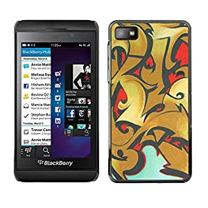 For BlackBerry Z10 - Graffiti Powerful Golden Brick Wall /Modelo de la piel protectora de la cubierta del caso/ - Super Marley Shop -