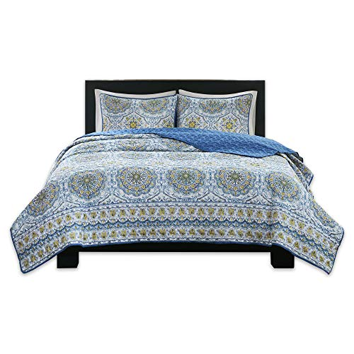 Home Essence Taya 3 Piece King Quilt Set Reversible Solid Printed Medallions Pattern Light-Weight Rustic Coverlet Soft Microfiber Bedding for All Season, Blue ()