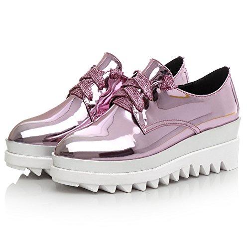 Minivog Dikke Leren Dames-schoenen Met Plateauzool In Leer Roze