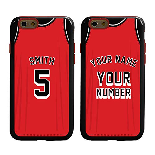 Custom Basketball Jersey Cases for iPhone 6 / 6s by Guard Dog - Personalized Sports - Your Name and Number on a Protective Hybrid Phone Case. Incl.Guard Glass Screen Protector. (Black, Red)