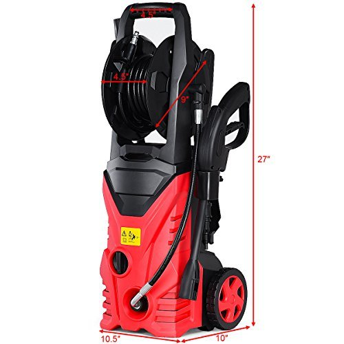 Goplus Electric High Pressure Washer 2030PSI 1.6GPM Power Pressure Washer Machine w/High Pressure Hose and Wash Brush (Red) by Goplus (Image #4)