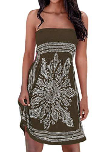 Women's High Waist Strapless Floral Printed Swing Beach Dress Army Green XL