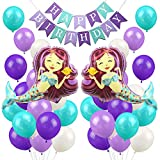 LUCK COLLECTION Mermaid Balloons Party Decorations Mermaid Happy Birthday Banner for Girls Birthday Party Baby Shower Party Supplies