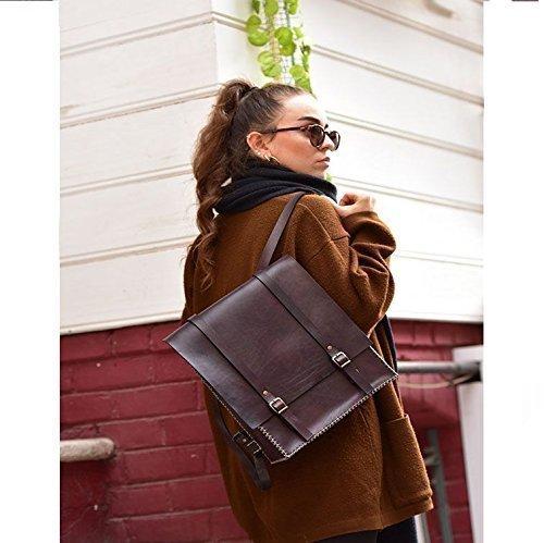 Dark Burgundy Leather Women's Handmade Backpack