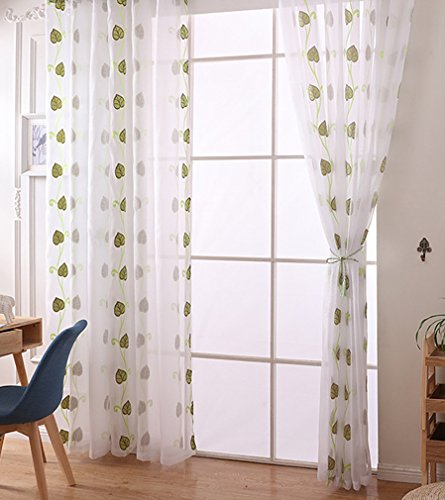 Green Single Transparent Rod - ASide BSide Lounge Style Vine Leaf Jacquard Sheer Curtains Rod Pocket Top Breathable Window Decoration For Sitting Room Kitchen and Children Room (1 Panel, W 52 x L 95 inch, Green)