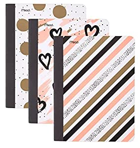 """Mead Composition Books / Notebooks, College Ruled, 9-3/4"""" x 7-1/2"""", Shape It Up, Assorted Designs, 3 Pack (73823)"""