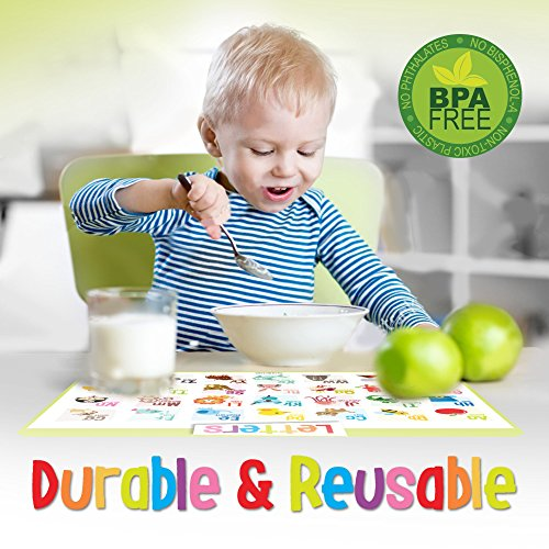 merka Educational Kids Placemats - Set of 4: Alphabet, Numbers, Shapes, Colors - Bundle - Non Slip & Washable by merka (Image #4)