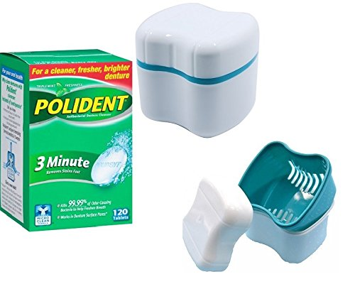 Polident 3 Minute Denture Cleaner 120 Tablets And Denture Cleaning Cup Case With Lid Basket