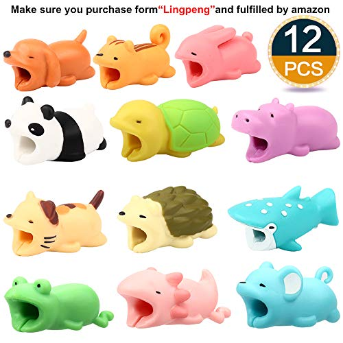 Lingpeng 12PCS Cute Animal Cable Bites,Various Animal Cable Cord Data Line Cell Phone Accessories Protects Creative Gift