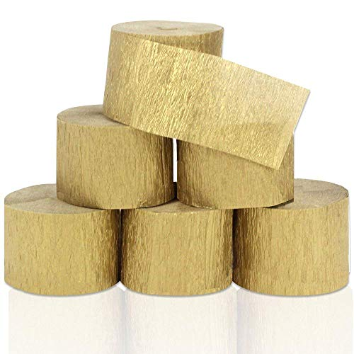Crepe Streamer Set - Coceca 82ft Gold Streamers Roll Gold Crepe Paper Streamers, 6 Rolls, for Various Birthday Party Wedding Festival Party Decorations