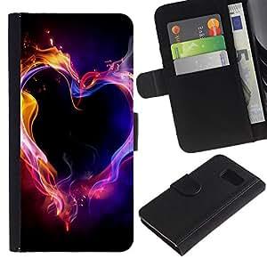 KingStore / Leather Etui en cuir / Samsung Galaxy S6 / Llamas de Neón Negro Amor Pasión;