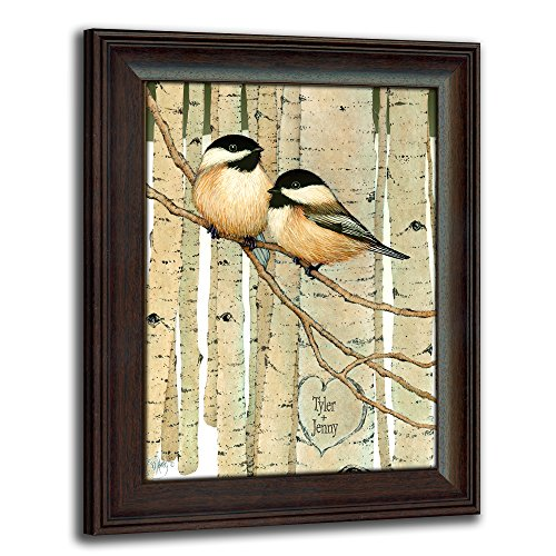 Love Birds - Chickadees - Personalized Romantic Wildlife and Animal Framed Prints for Anniversaries, Weddings, Valentine's, and ()