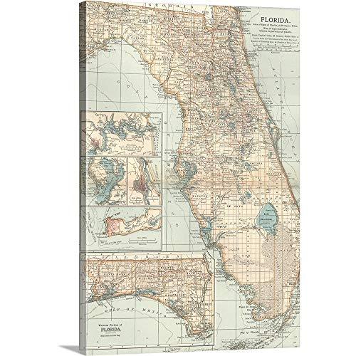 Encyclopaedia Britannica Premium Thick-Wrap Canvas Wall Art Print Entitled Central Florida - Vintage Map 32
