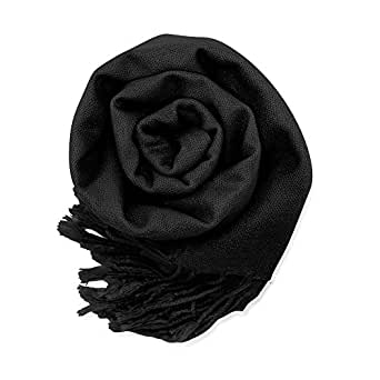 GEARONIC TM Women's Soft Pashmina Shawl Wrap Lady Scarf in Solid Colors- Black