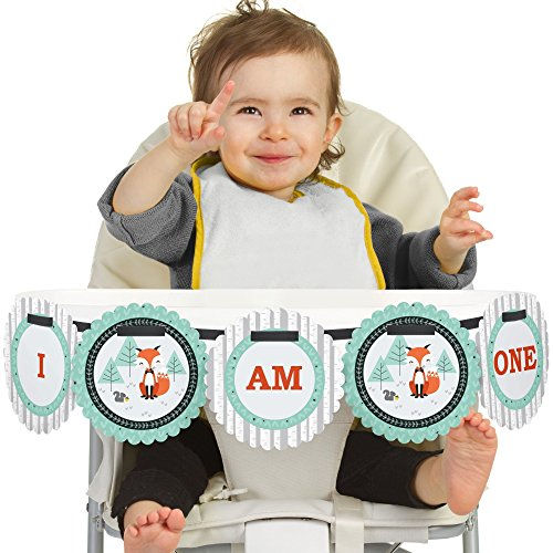 Big Dot of Happiness Mr. Foxy Fox 1st Birthday - I Am One - First Birthday High Chair Banner
