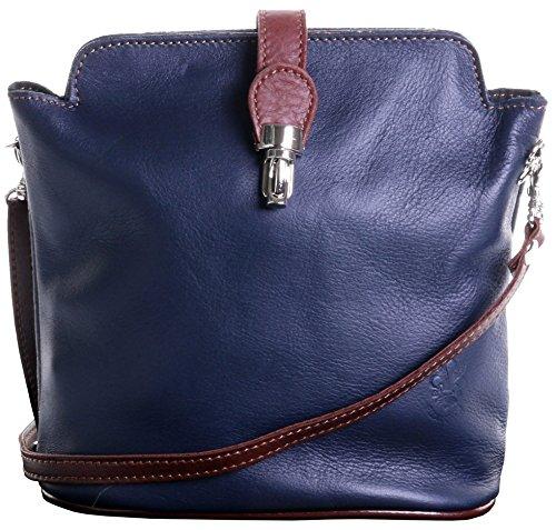 Primo Sacchi Italian Soft Leather Small Navy Blue and Brown Cross Body or Shoulder Bag Handbag